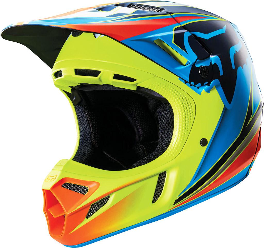 Fox - V4 Race шлем, сине-желтый
