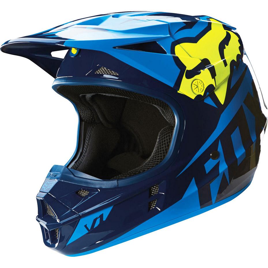 Fox - V1 Race шлем, сине-желтый