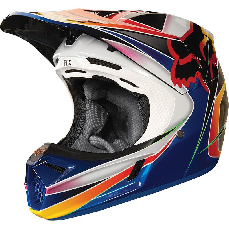 Fox - 2018 V3 Kustm Multi ECE шлем, сине-красно-желтый