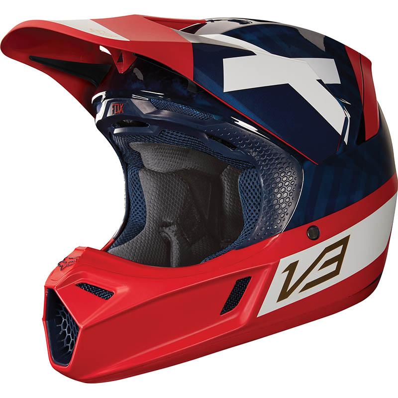 Fox - 2018 V3 Preest Navy/Red ECE шлем, сине-красный