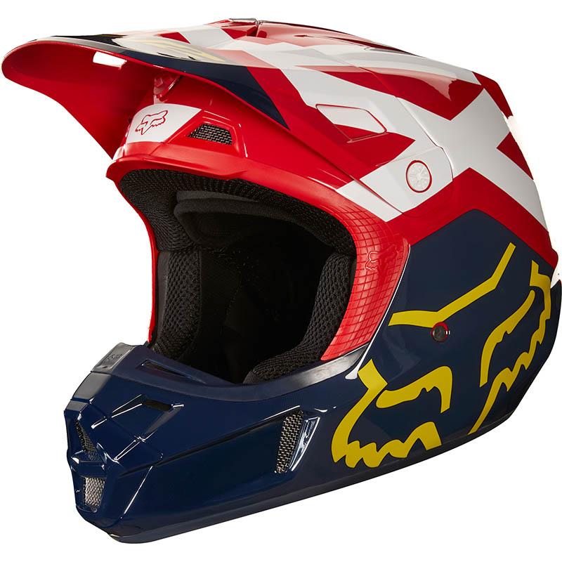 Fox - 2018 V2 Preme Navy/Red ECE шлем, сине-красный