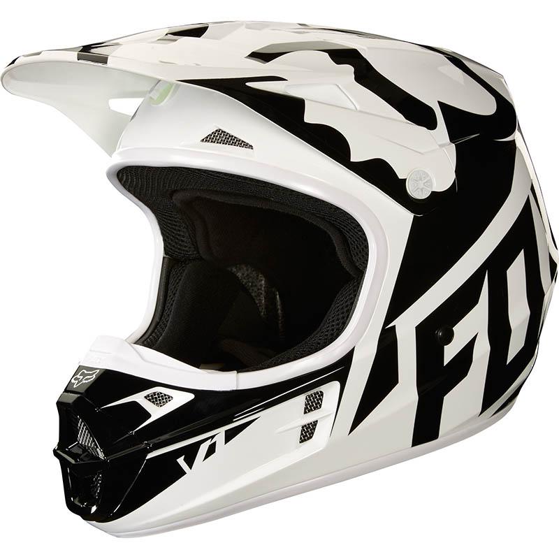 Fox - 2018 V1 Race Black/White/Green ECE шлем, бело-черно-зеленый