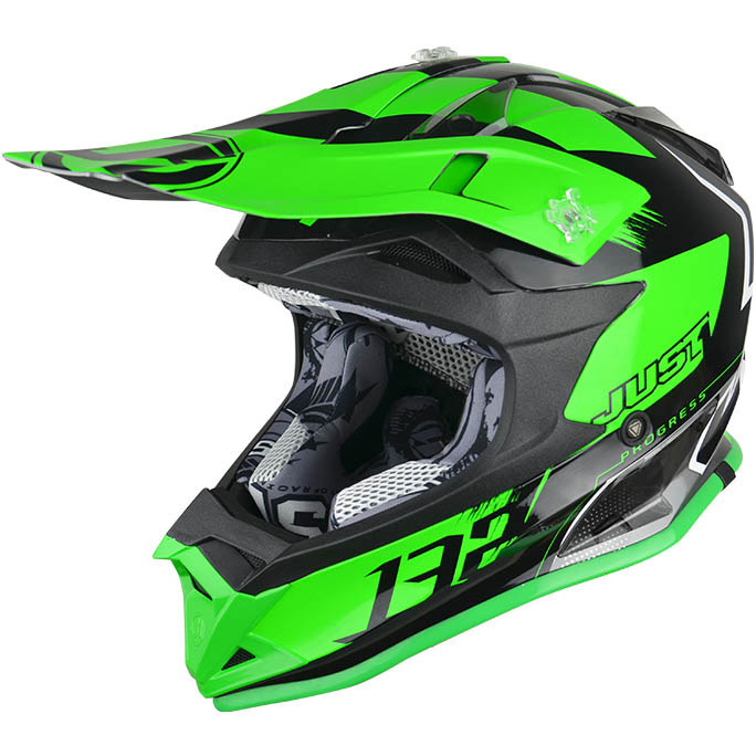 Just1 - J32 Pro Kick Green/White/Titanium шлем, зелёно-бело-титановый